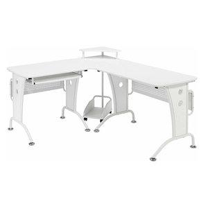 Modern Stylish Corner Desk, MDF, Woodgrain Effect, Monitor Stand, White Woodgrai