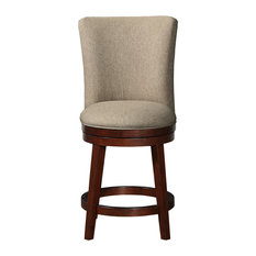 Upholstered Counter Height Swivel Stool Woven Tan
