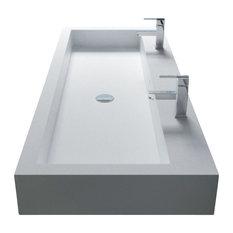 "ADM Double Rectangular Wall Mounted Sink, White, 39"", Matte White"