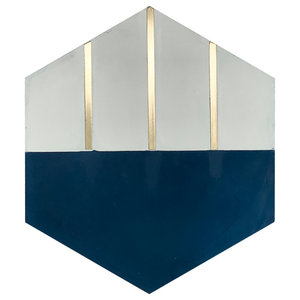 Claw Navy Blue Hexagon Cement Tile with Brass Inlay, box of 4.45 sq ft