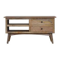 Media Unit With 2-Drawer and Shelf, Oak Finish Mango Wood