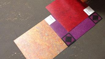 Linoleum floor with custom borders and inlays