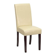 Signature By Ashley   Leather Upholstered Parsons Chair, Ivory   Dining  Chairs