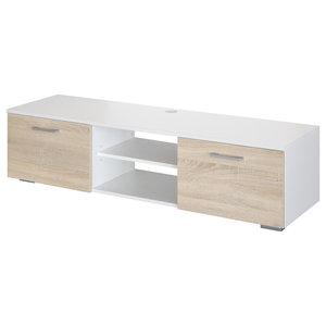 Modern Wood TV Stand, White