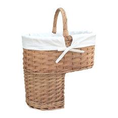 Stair Basket Wicker Basket, White Lining