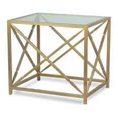 30-inch Leonide Set Of Two Classical Side Table Iron Gold Finish Glass