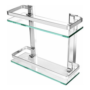 Wall Mounted Bathroom Rack with Aluminium Frame and Tempered Glass, Modern Style