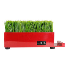 4-Port Usb Red Power Charging Station With Artificial Faux Plastic Green Grass