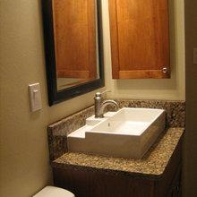Colorado earthy bathroom remodel, on a budget
