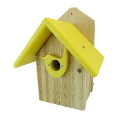 Post Mount Cedar Wren Birdhouse Predator Guard Portal, Yellow