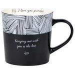 """AFD - """"Hanging Out With You Is The Best"""" Noted Mug - Inspired by the joy of receiving a handwritten letter, each 18oz Noted mug features a minimalistic hand-drawn design, heartfelt outer message and corresponding P.S. message. The paper plane embodies this line, evoking the nostalgia of receiving a secret note. This mug is the perfect sentimental gift for friends and family."""