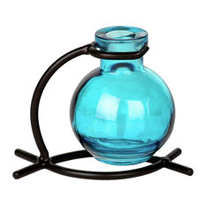 Couronne Co. Casablanca Recycled Glass Vase and Metal Stand, Aqua