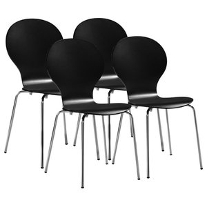 VidaXL Dining Chairs, Set of 4, Stackable Black