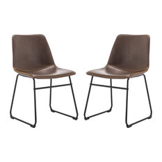 Faux Leather Armless Dining Chair With Metal Legs, Set of 2, Brown