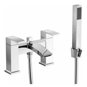 Modern Bath Filler Mixer Tap and Hand Held Shower Head Set, Chrome Plated Finish