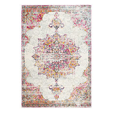 Sunny Wildflower Medallion Area Rug, Pink, 9'x12'