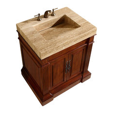 33 Inch Cherry Bathroom Vanity with Single Sink, Travertine, Traditional