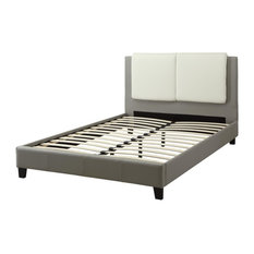 Wooden E.King Bed With White PU Head Board, Gray