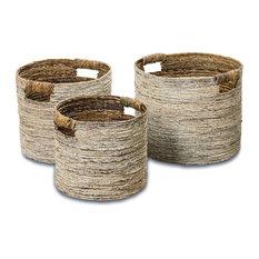 Beach Chic White Washed Banana Leaf Baskets, 3-Piece Set