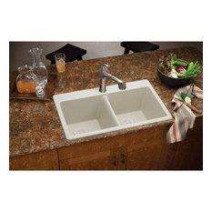 "ELG3322BQ0 Quartz Classic 33"" x 22"" Equal Double Bowl Drop-in Sink, Bisque"