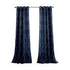 Swirl Window Curtain Set, Navy