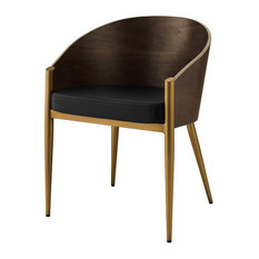 Modern Deco Contemporary Urban Living Dining Side Chair, Wood Metal Steel, Gold