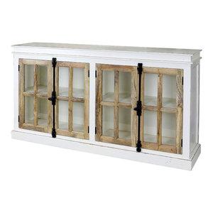 Tucker 4-Door Credenza With Tempered Glass Window Panes and French Door Locks