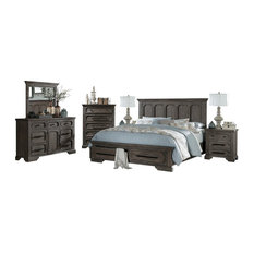 5 Piece Thiara Cal King Storage Bed, Dresser, Mirror, 2 Nightstand Acacia