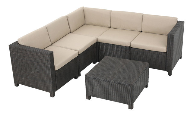 Valona 6 Piece Outdoor Sectional Set, Dark Brown And Beige