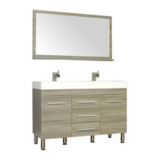 "Ripley 48"" Double Modern Bathroom Vanity Set With Mirror, Gray"