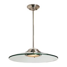 Access Lighting - Phoebe, 50444, Semi-Flush or Pendant, LED, Brushed Steel With Clear - Pendant Lighting