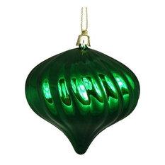 Swirl Shatterproof Onion Christmas Ornaments, Set of 4, Xmas Green
