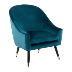 LumiSource Matisse Accent Chair Teal Velvet With Gold Accent