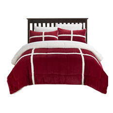 Chic Camille Mink Chloe Sherpa Lined 3-Piece Comforter Set, King Red