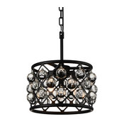 3-Light Mini Pendant With Black Finish and Clear Crystals