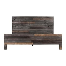"""Moes Home Collection BT-1013 Vintage 80.5""""W Pine Wood King Panel Bed, Gray"""