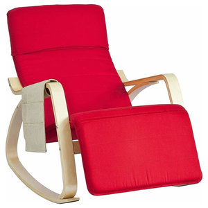 Contemporary Stylish Rocking Chair, Birch Veneer Frame and Footrest, Red