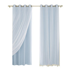 """Gathered Tulle Sheer and Blackout 4-Piece Curtain Set, Baby Blue, 84"""""""
