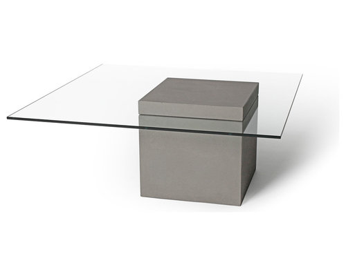 Table basse b ton carr e avec plateau en verre concrete for Table basse verre carree