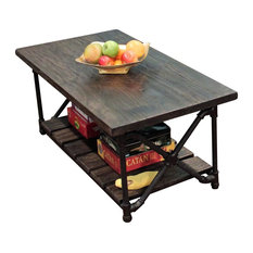 Amazing Furniture Pipeline   Rustic Rectangle Coffee Table, Metal With Reclaimed  Aged Wood, Black Steel