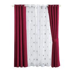 """Fleur De Lis Blackout Curtains 6-Piece Set, Burgundy, 54""""x63"""""""