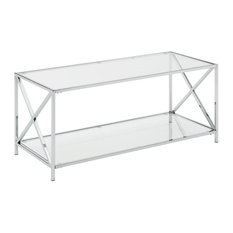 Convenience Concepts Oxford Chrome Coffee Table With Clear Glass Tabletop