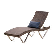 GDF Studio Manuela Outdoor Single Multibrown Wicker Chaise Lounge Chair