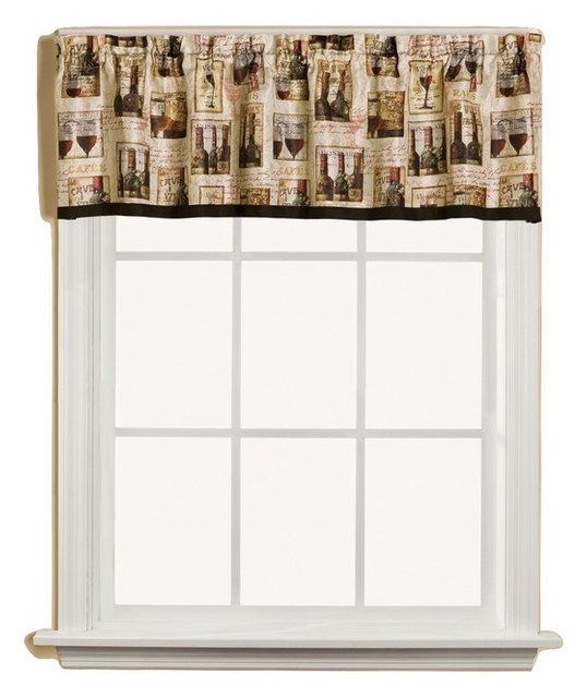 Vino Wine Bottles Kitchen Curtain