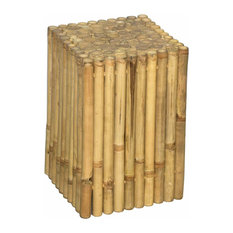 Bamboo54   Rustic Square Bamboo End Table, Stool   Side Tables And End  Tables