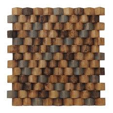 "15.75""x15.75"" Grand Terrace Wood Mosaic Multicolor Teak Wall Tiles, Set of 6"
