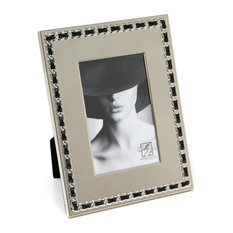 """Cosmo Nickel Plated And Black Pu Woven Frame, 4""""x6"""""""