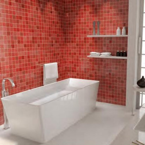 Red Wall And Floor Tiles