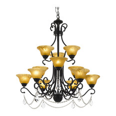 Wrought Iron Crystal Chandelier, Country French