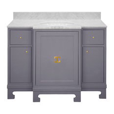 Worlds Away Alice Bath Vanity, Gray Lacquer Gold
